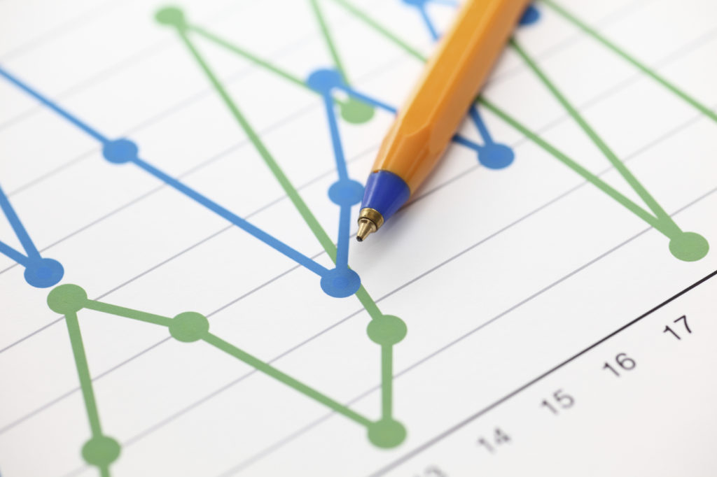 Analysis of financial statements (Line Graph). Business graph and ballpoint pen. Close-up.